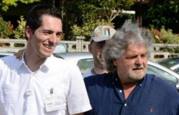 Roberto Castiglion, new Major of Sarego, with Beppe Grillo