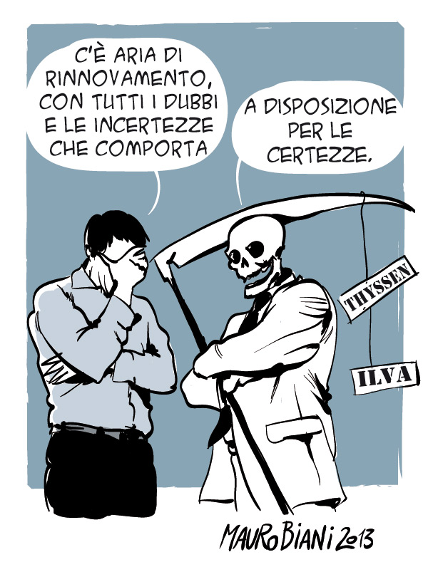 """Man: """"There's change in the air, with all the doubts and uncertainties that go with it.""""  Death: """"At your disposition for the certainties."""" [by Mauro Biani - http://maurobiani.it/2013/02/28/sicurezzae/]"""