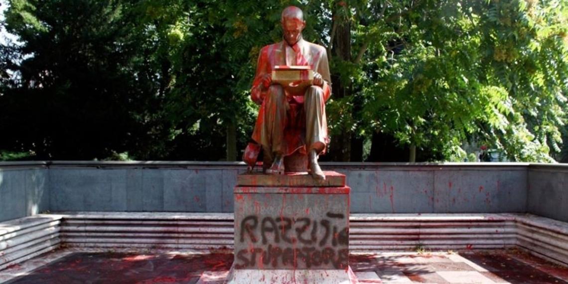 montanelli statua imbrattata